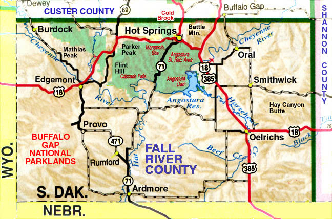 Fall River County Map